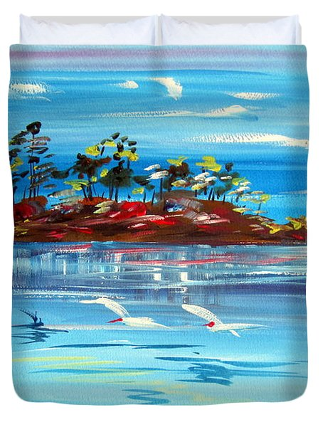 Australian White Parrots Over The Water Duvet Cover by Roberto Gagliardi