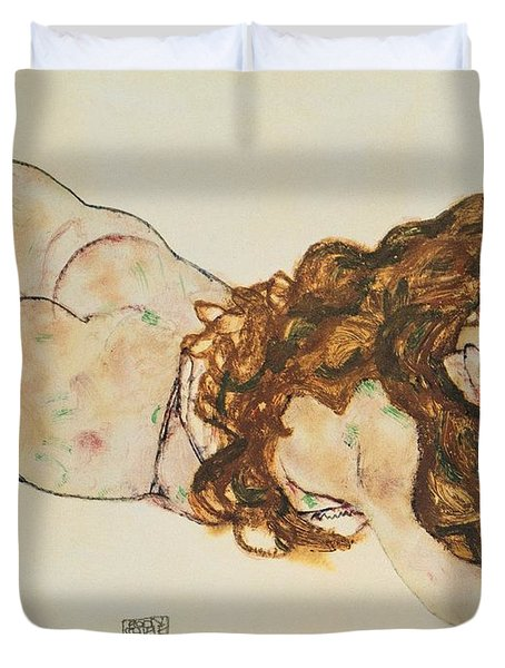 Austria Vienna Female Nude Lying On Her Stomach Duvet Cover