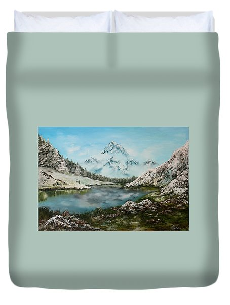Duvet Cover featuring the painting Austrian Lake by Jean Walker