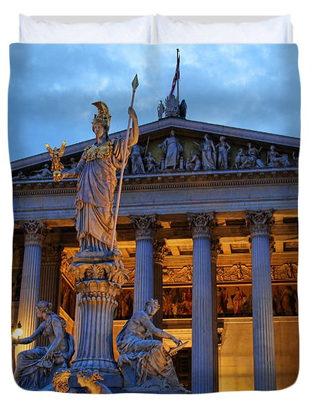 Austrian Parliament Building Duvet Cover by Mariola Bitner