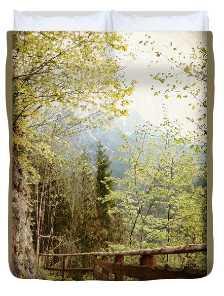 Duvet Cover featuring the photograph Austrian Woodland Trail And Mountain View by Brooke T Ryan