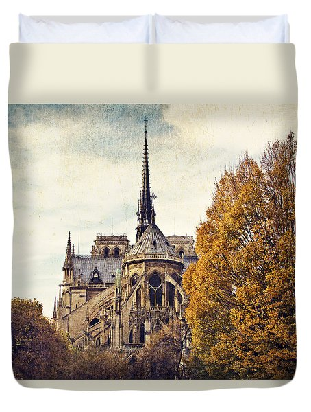 Duvet Cover featuring the photograph Automne A Notre-dame by Melanie Alexandra Price
