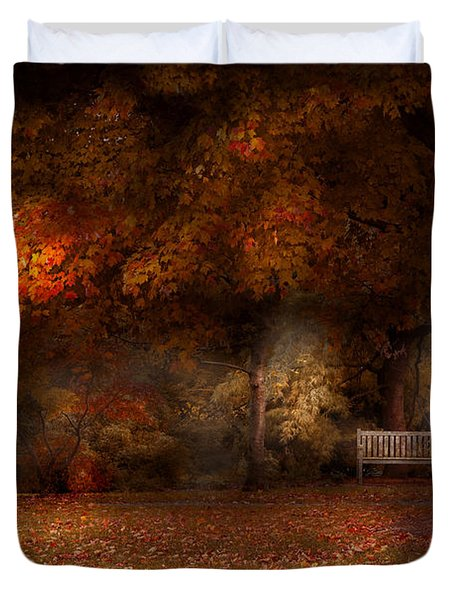 Autumn - A Park Bench Duvet Cover by Mike Savad