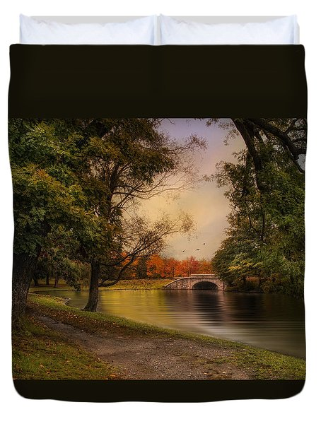 Autumn Across The Bridge Duvet Cover