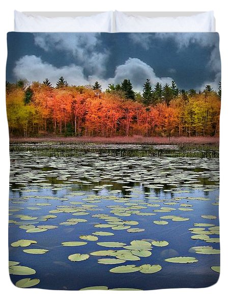 Autumn Across The Pond Duvet Cover by Barbara S Nickerson