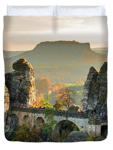 Autumn Afternoon On The Bastei Bridge Duvet Cover