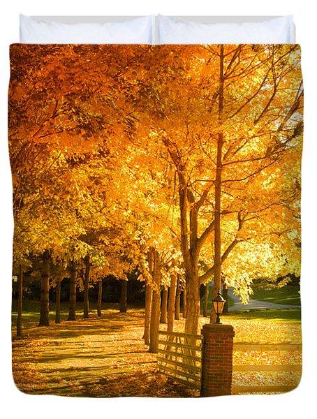 Autumn Alley Duvet Cover by Alexey Stiop