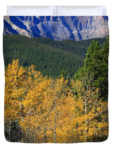 Autumn Aspens And Longs Peak Duvet Cover