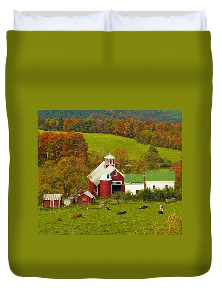 Autumn At Bogie Mountain Dairy Farm Duvet Cover by John Vose