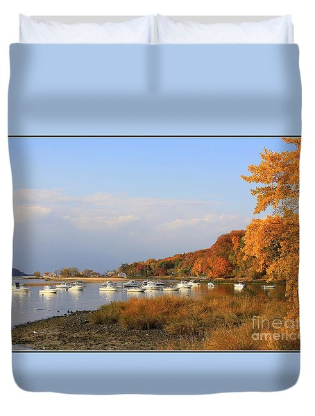Autumn At Cold Spring Harbor Duvet Cover by Dora Sofia Caputo Photographic Art and Design