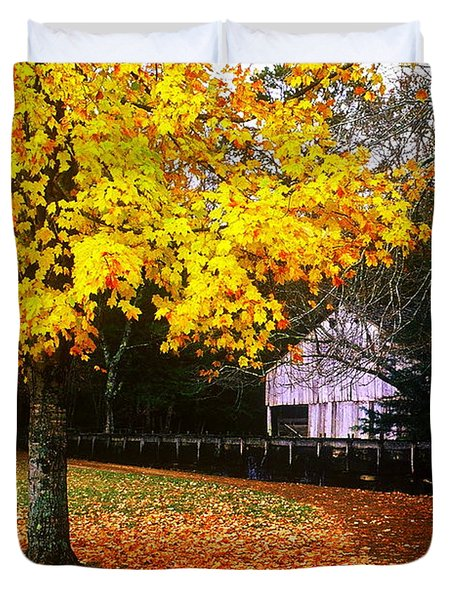 Duvet Cover featuring the photograph Autumn At Old Mill by Rodney Lee Williams