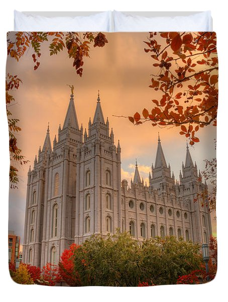 Autumn At Temple Square Duvet Cover