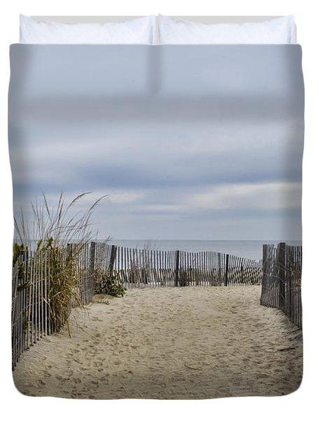 Autumn At The Beach Duvet Cover