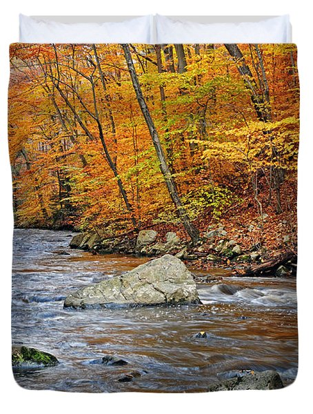 Autumn At The Black River Duvet Cover