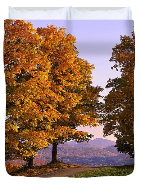 Duvet Cover featuring the photograph Autumn Backroad View by Alan L Graham