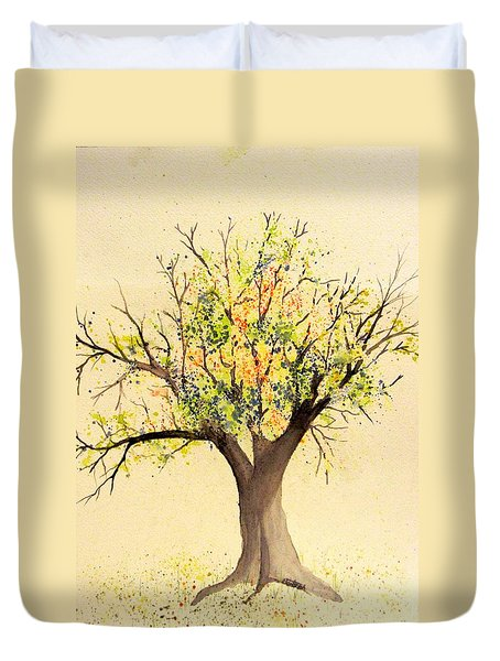 Autumn Backyard Tree Duvet Cover