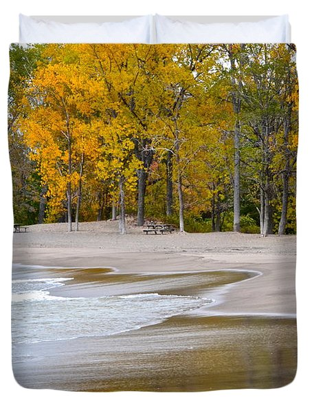 Autumn Beach Duvet Cover by Frozen in Time Fine Art Photography
