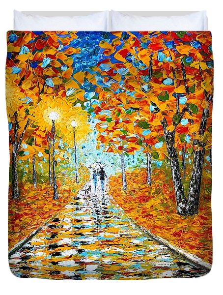 Duvet Cover featuring the painting Autumn Beauty Original Palette Knife Painting by Georgeta  Blanaru