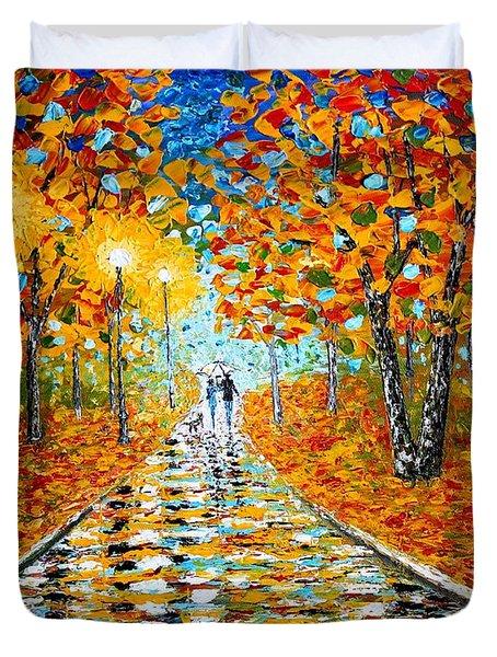 Autumn Beauty Original Palette Knife Painting Duvet Cover by Georgeta  Blanaru