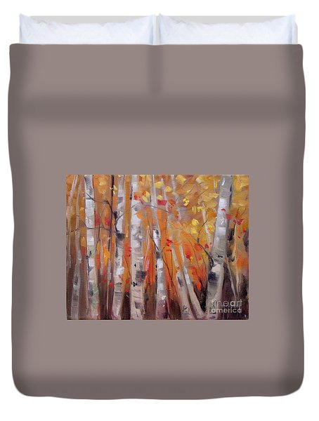 Autumn Birch Duvet Cover by Mary Hubley