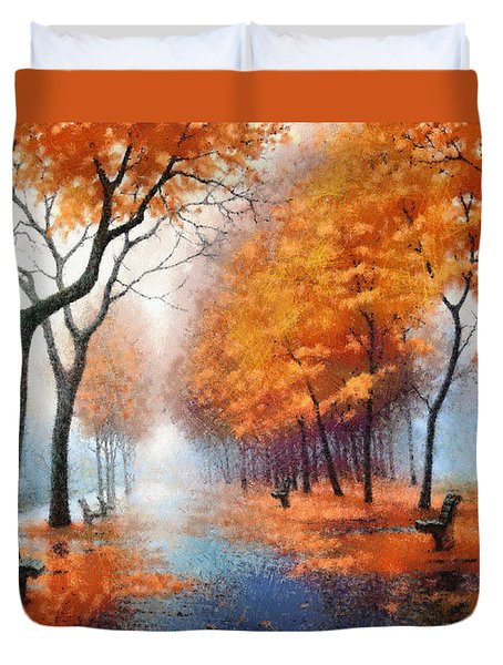 Autumn Boulevard Duvet Cover