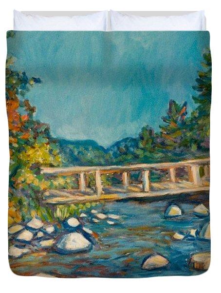 Autumn Bridge Duvet Cover by Kendall Kessler