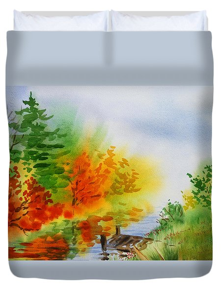 Duvet Cover featuring the painting Autumn Burst Of Fall Impressionism by Irina Sztukowski