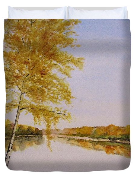 Autumn By The River Duvet Cover by Martin Howard