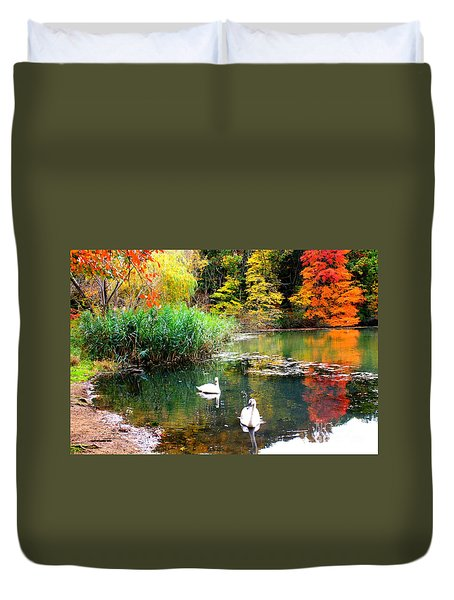 Autumn By The Swan Lake Duvet Cover by Dora Sofia Caputo Photographic Art and Design