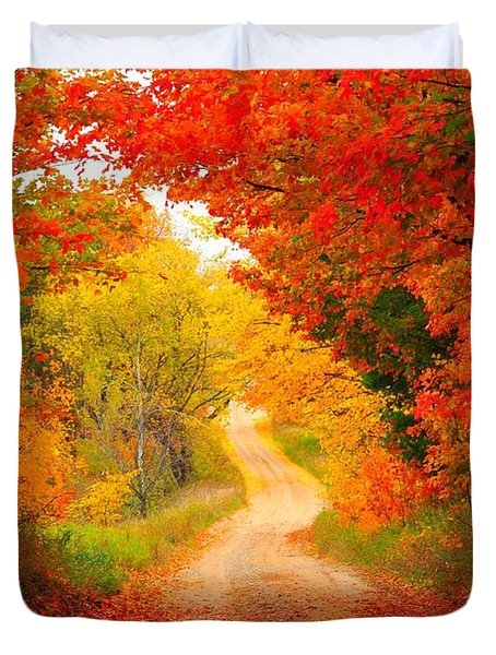 Duvet Cover featuring the photograph Autumn Cameo Road by Terri Gostola