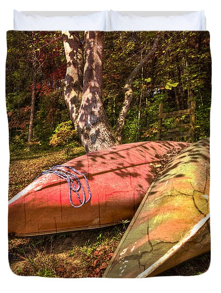 Autumn Canoes Duvet Cover by Debra and Dave Vanderlaan