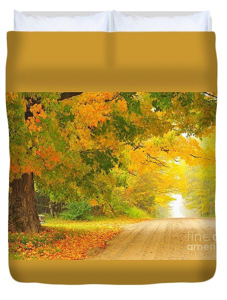 Autumn Cascade Duvet Cover by Terri Gostola