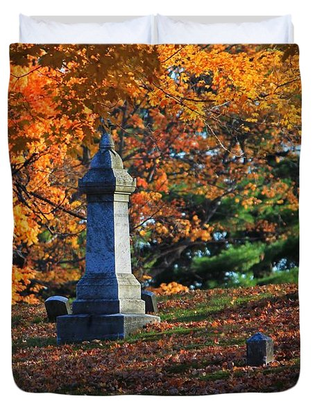 Autumn Cemetery Visit Duvet Cover
