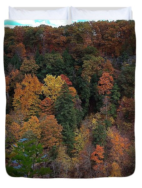 Duvet Cover featuring the photograph Autumn Colors In Taughannock State Park Ithaca New York by Paul Ge