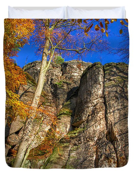 Autumn Colors In The Saxon Switzerland Duvet Cover