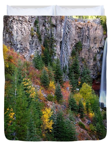 Duvet Cover featuring the photograph Autumn Colors Surround Tumalo Falls by Kevin Desrosiers