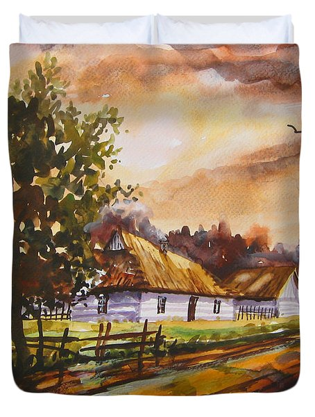 Autumn Cottages Duvet Cover