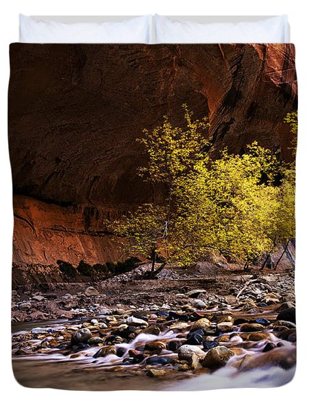 Duvet Cover featuring the photograph Autumn Cottonwood In The Narrows by Andrew Soundarajan