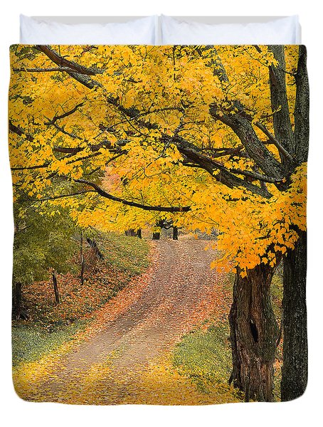 Duvet Cover featuring the photograph Autumn Country Road by Alan L Graham