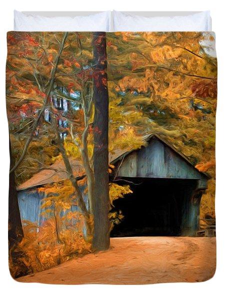 Autumn Covered Bridge Duvet Cover by Joann Vitali