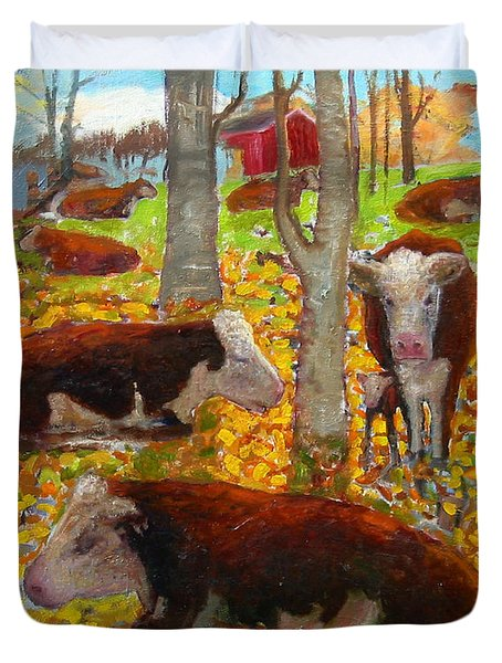 Autumn Cows Duvet Cover
