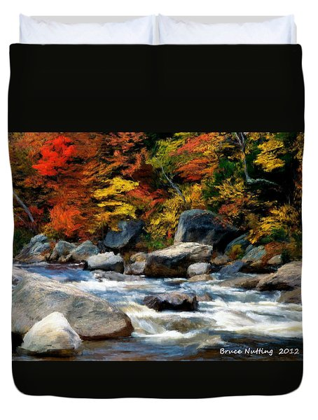 Duvet Cover featuring the painting Autumn Creek by Bruce Nutting