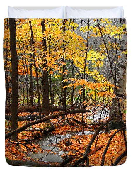 Duvet Cover featuring the photograph Autumn Creek In The Rain by Rodney Lee Williams