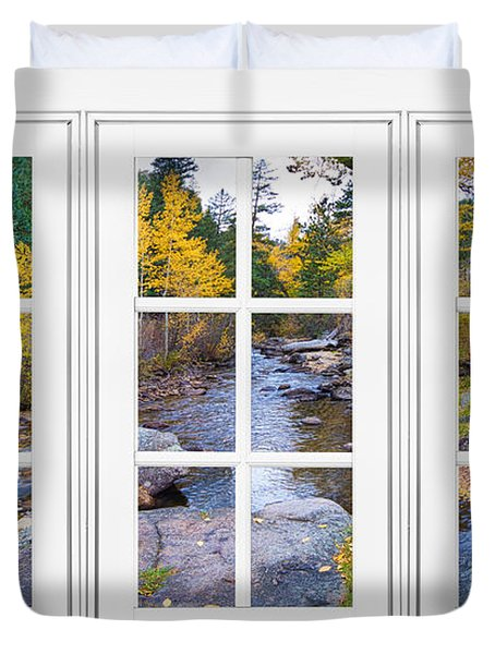 Autumn Creek White Picture Window Frame View Duvet Cover by James BO  Insogna