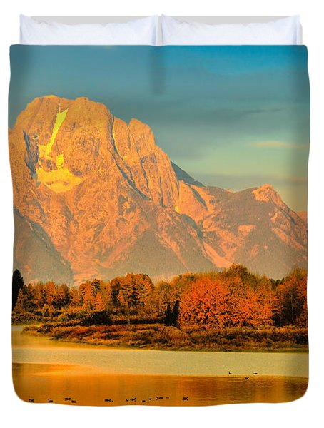 Autumn Dawn At Oxbow Bend Duvet Cover
