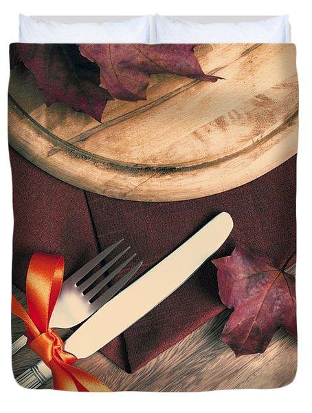 Autumn Dining Duvet Cover by Amanda Elwell
