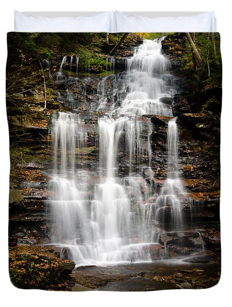 Waterfall At Ricketts Glen Duvet Cover