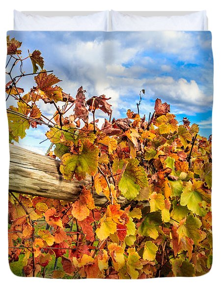Autumn Falls At The Winery Duvet Cover