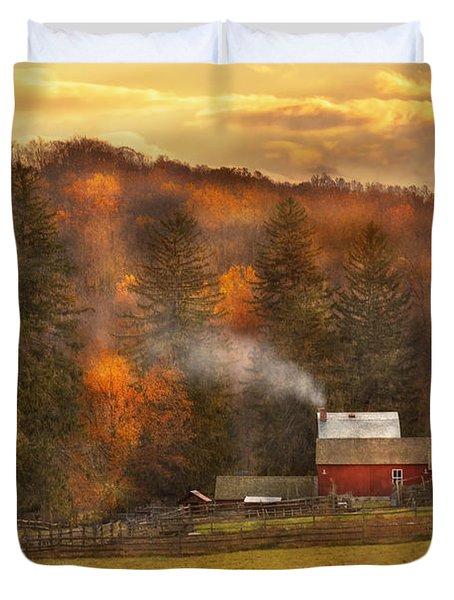 Autumn - Farm - Morristown Nj - Charming Farming Duvet Cover by Mike Savad