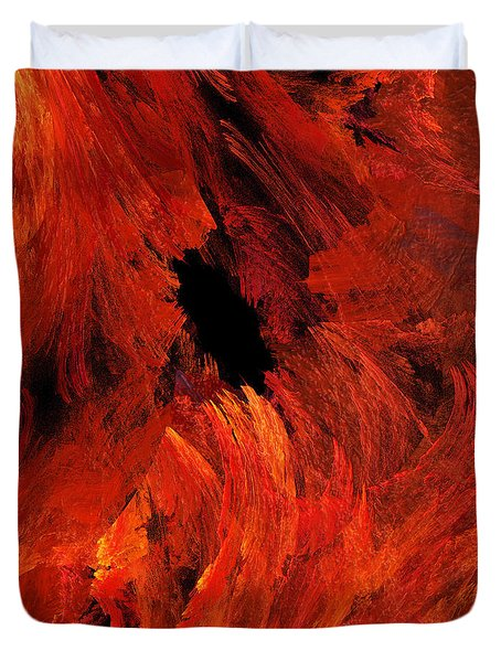 Autumn Fire Abstract Square Duvet Cover by Andee Design